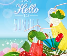 Summer drinks poster template vectors 03
