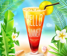 Summer drinks poster template vectors 04