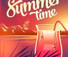 Summer drinks poster template vectors 05