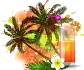 Summer drinks poster template vectors 06