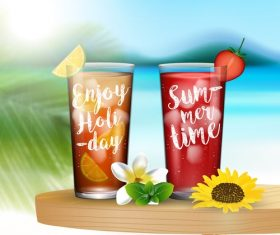 Summer drinks poster template vectors 07