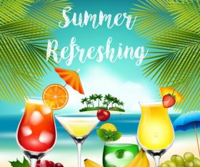 Summer drinks poster template vectors 08