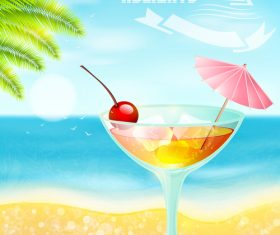 Summer drinks poster template vectors 10