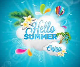Summer travel elements design vector material 01
