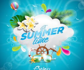 Summer travel elements design vector material 02