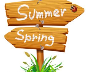 Summer with spring wooden sign vector