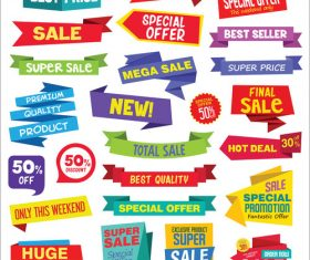 Super Sale discount labels tags and stickers vector