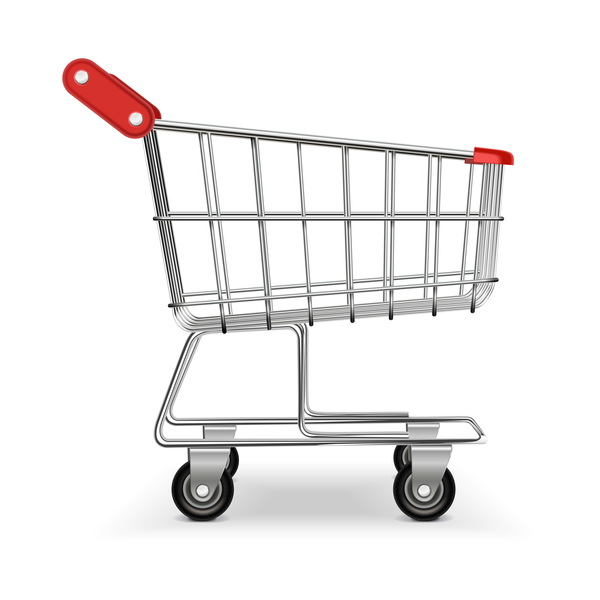 Supermarket trolley design vector 03