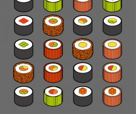 Sushi – isometric outline color icons
