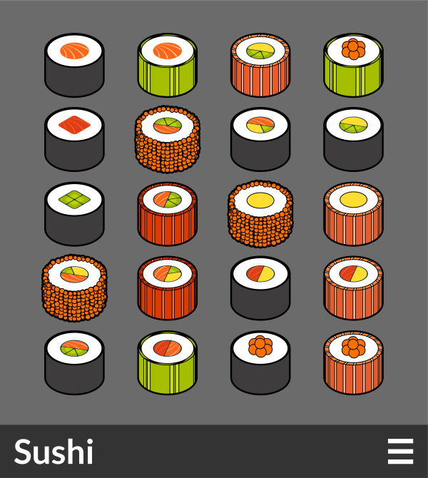 Sushi   isometric outline color icons