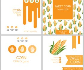 Sweet corn package box template vector