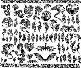 Tattoo decor dragon vector material 03