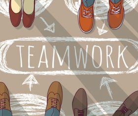 Teamwork group business people and doodles vector 01