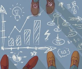 Teamwork group business people and doodles vector 02