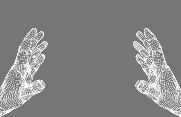 Tech hands conpect vector illustration