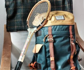 Tennis rackets and backpacks Stock Photo