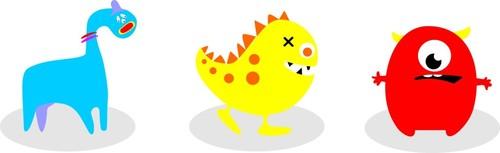 Terrible cartoon animals vector
