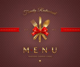 Traditional european cuisine restaurant menu cover vector