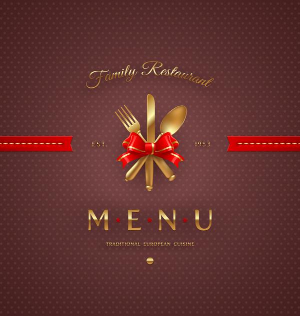 Traditional european cuisine restaurant menu cover vector