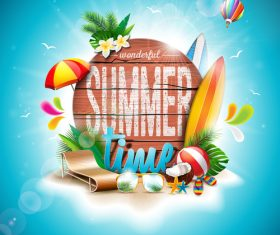 Travel elements with summer beach vector 01