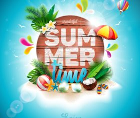 Travel elements with summer beach vector 02