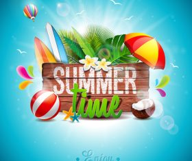 Travel elements with summer beach vector 03