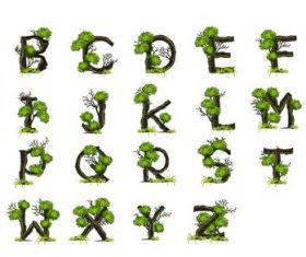 Tree branches alphabet vectors