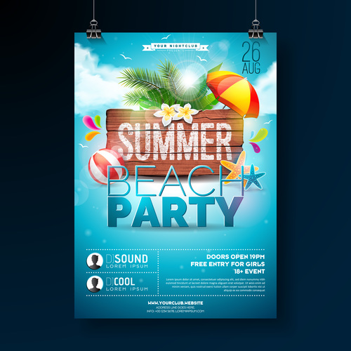 Trocipal Summer Beach Party Flyer Template Vector 01 Free Download