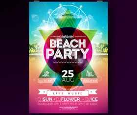 Trocipal summer beach party flyer template vector 04