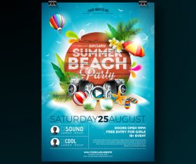 Trocipal summer beach party flyer template vector 05