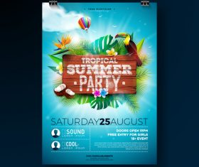 Trocipal summer beach party flyer template vector 07