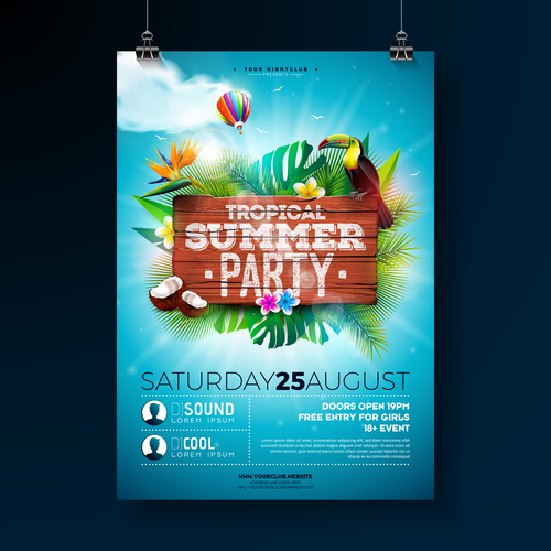 Trocipal Summer Beach Party Flyer Template Vector 07 Free Download