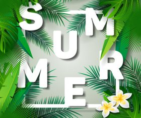 Tropical plants wiht summer background vector 03