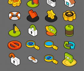 Universal – isometric outline color icons