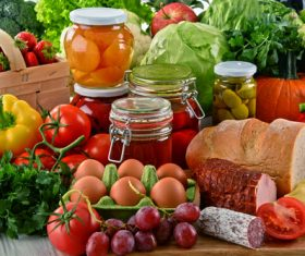 Various organic foods on the desktop Stock Photo 01