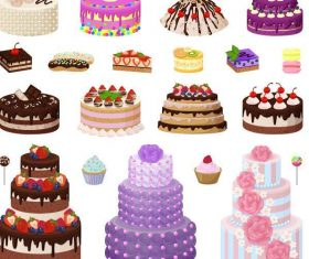 Vector birthday cake material set