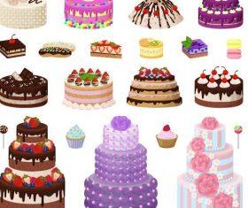 Vector birthday cake material set