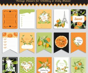 Vector printable cards and notes – Orange set