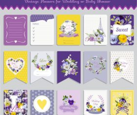 Vector printable cards and notes – Pansy set
