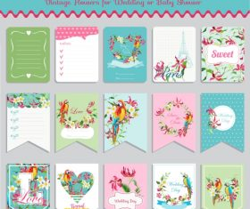 Vector printable cards and notes – Parrot set