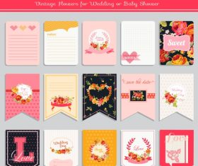 Vector printable cards and notes – Rose set 2