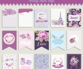 Vector printable cards and notes – Rose set