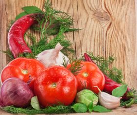 Vegetables on a wooden board 04