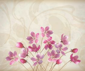 Vintage background with pink flower vector material 03