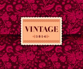 Vintage flower ornate card vector