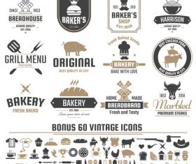 Vintage vector labels and icons 01