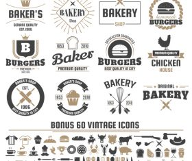 Vintage vector labels and icons 02