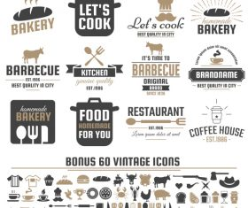 Vintage vector labels and icons 03