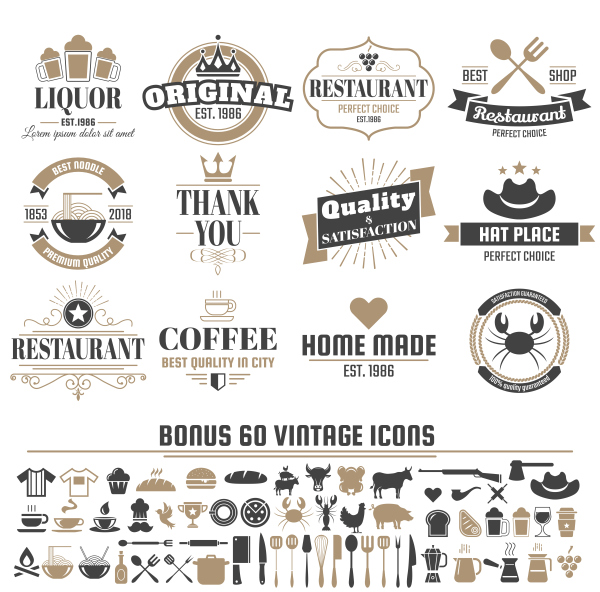 Vintage vector labels and icons 04