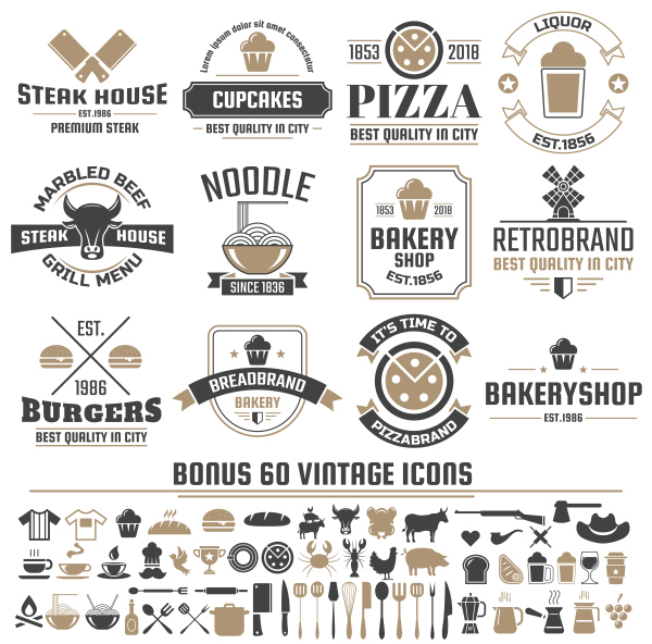 Vintage vector labels and icons 05